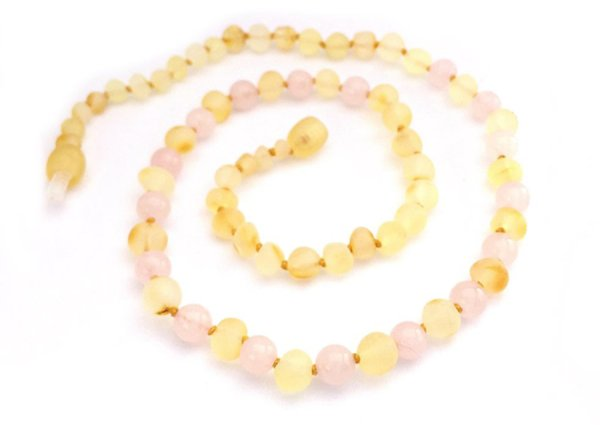 画像1: GEMSTONE ADULT NECKLACE - Raw Lemon & Rose Quartz (1)
