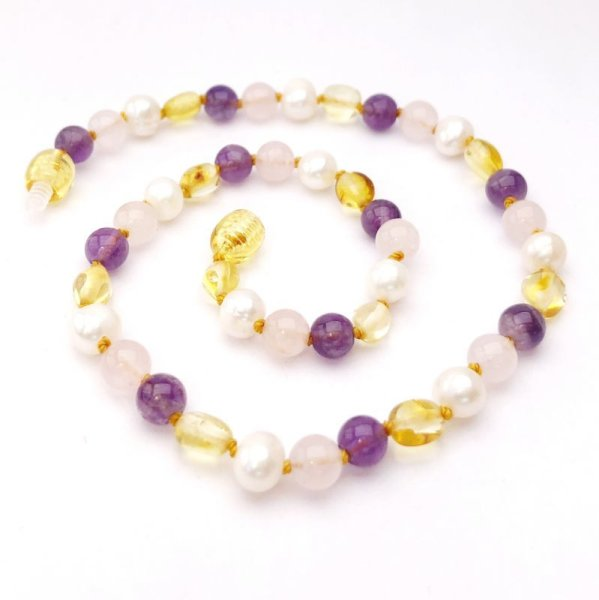 画像1: GEMSTONE BABY NECKLACES - Duchess - Lemon Amber, Rose Quartz and Amethyst (1)