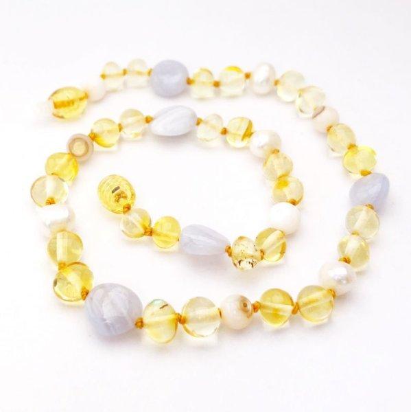 画像1: GEMSTONE BABY NECKLACES - Princess - Lemon Amber, Pearls, Blue Chalcedony (1)